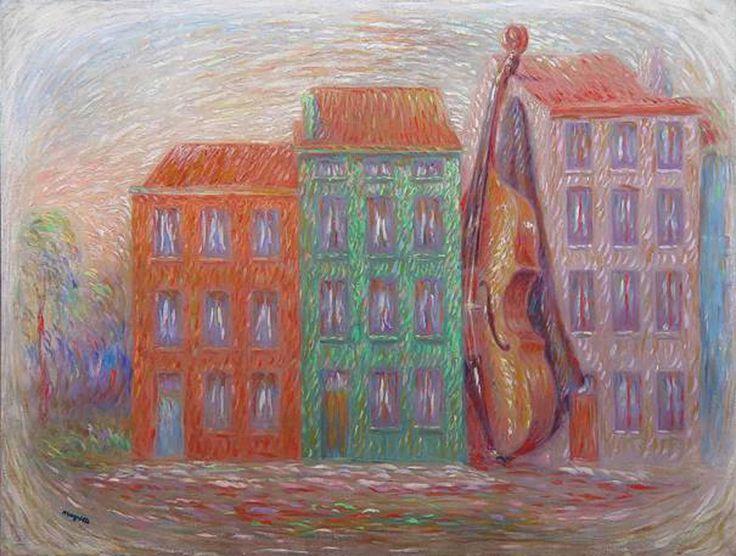 René Magritte  Image à la maison verte (Image with a green house)