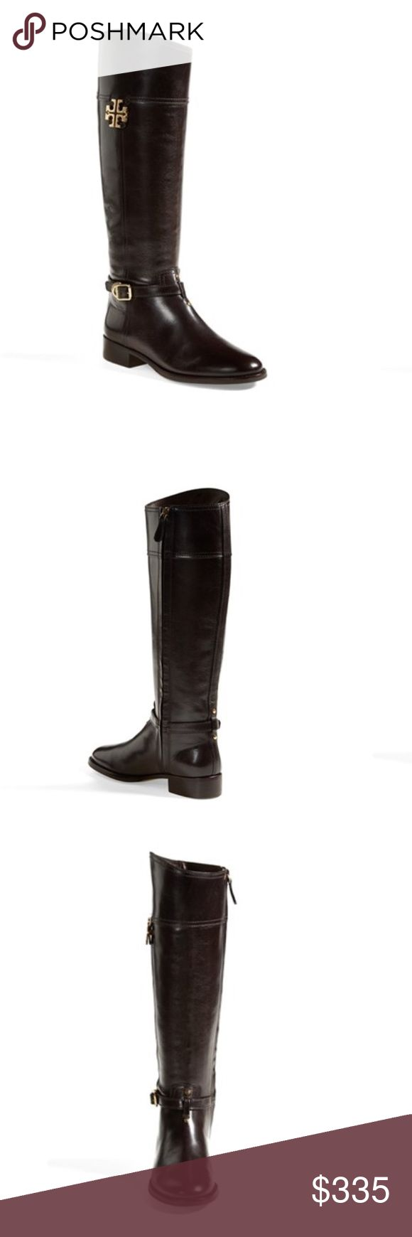 "Tory Burch Eloise Black Boot - 8.5 NIB With a slightly asymmetrical, Spanish shaft, Tory Burch's Eloise boot is the epitome of classic riding style. Lush, semigloss leather and gleaming logo hardware set off the silhouette with signature appeal.   1 1/4"" heel (size 8.5). 17"" boot shaft; 14 1/2"" calf circumference. Side zip closure. Leather upper/leather and textile lining/leather and rubber sole. By Tory Burch; made in Brazil. Salon Shoes. *more photos to come* Tory Burch Shoes"