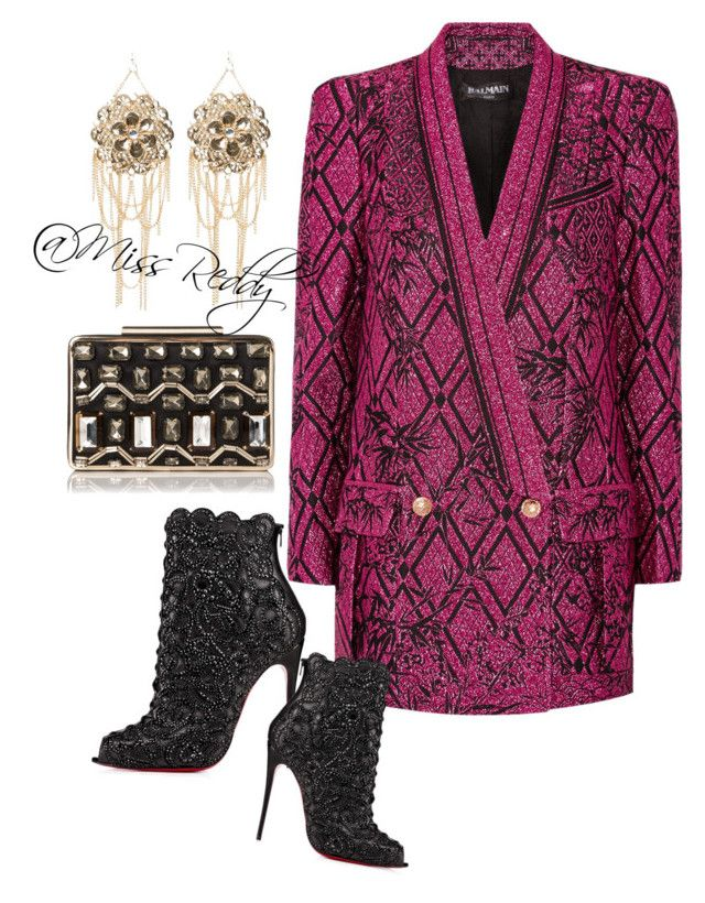 Feel 'n Balmain by missreddy on Polyvore featuring polyvore, fashion, style, Balmain, Christian Louboutin, L.K.Bennett and Bebe
