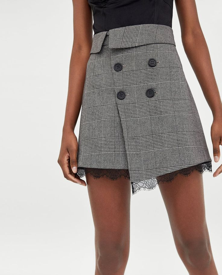 Image 2 of CHECKED MINI SKIRT WITH LACE TRIMS from Zara