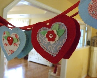 hearts garland http://notesofsincerity.blogspot.com/2012/02/granny-stripe-blanket-and-care-packages.html