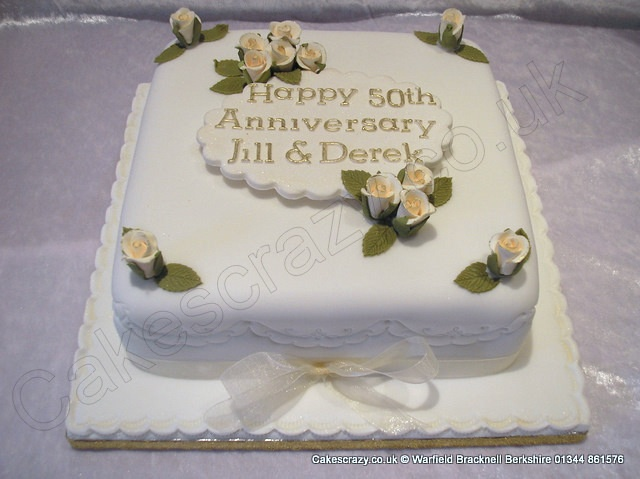 Square 50th Golden Wedding Anniversary Cake Finished With