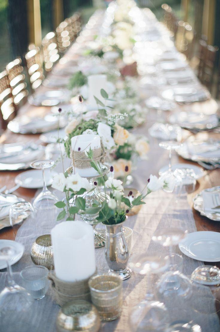 Love the burlap and mercury glass combo | Photography: Lelia Scarfiotti - leliascarfiotti.com  Read More: http://www.stylemepretty.com/little-black-book-blog/2014/05/09/romantic-al-fresco-umbria-wedding/