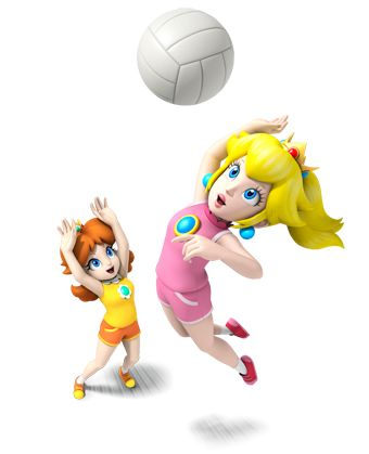 I only wish I would be able to create a game where Princess Peach and Daisy are together...  I actually want a game where you get to play as Princess Daisy in this kind of clothing because then would people from all over the world harness the true beauty of her!  Oh, and this is an awesome promo photo, Nintendo! It's time to play some volleyball and enjoy the fun of these two princesses! Love you, Peach and Daisy!
