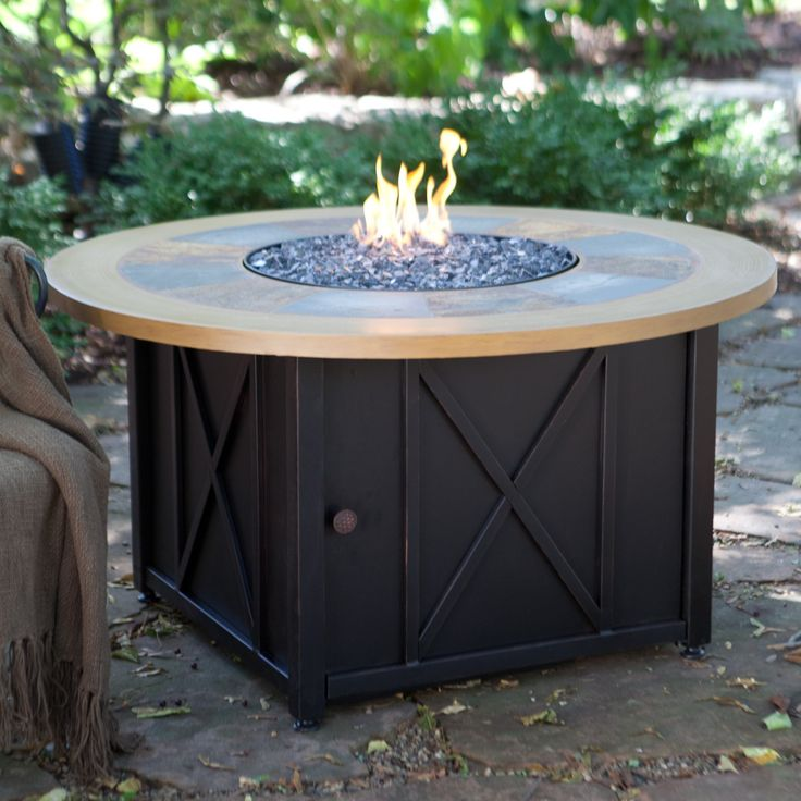 Exceptional UniFlame Round Slate And Faux Wood LP Gas Firebowl With FREE Cover   Come  On Out