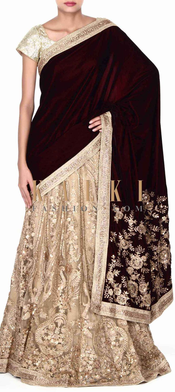 Buy this Lehenga saree in wine and veige with zari embroidery only on Kalki