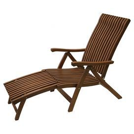 """Artfully crafted of Brazilian eucalyptus wood and showcasing a slatted back, this classic chaise brings a touch of rustic style to your patio or three-season porch.  Product: Chaise and ottomanConstruction Material: Brazilian eucalyptus hardwoodColor: BrownFeatures:  Five adjustable positionsFoldable for easy storageOttoman attached to chaise Suitable for indoor or outdoor useDimensions: Ottoman: 39.5"""" H x 23"""" W x 22"""""""" DOverall: 39.5"""" H x 69"""" W x 23"""" DCleaning and Care: Oil with linseed oil…"""