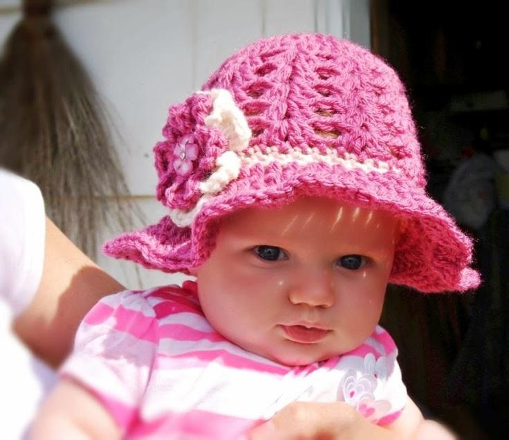 Crochet Sun Hat w/Flower