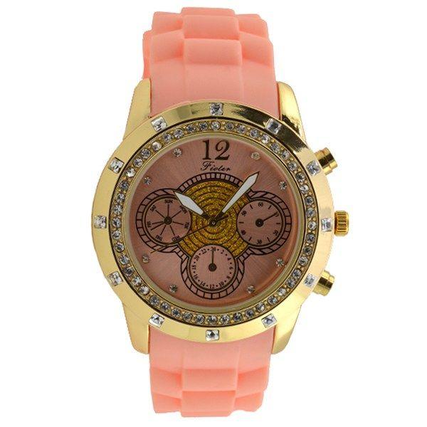 Γυναικείο ρολόι με στρας ροζ 031