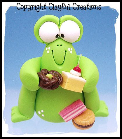 Polymer Clay Chubby Frog with Munchies from Clayful Creations by Becky