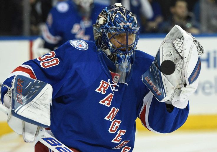 New York Rangers goalie Henrik Lundqvist warms up on the ice before a game against the New York Islanders at Madison Square Garden on Thursday, Oct. 13, 2016.