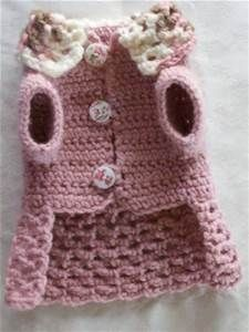 Crochet pet dog cat clothes apparel sweater dress coat s xs xxs pink ...