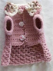 Crochet pet dog cat clothes apparel sweater dress coat s xs xxs pink ...