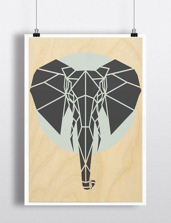 Art éléphant impression et géométrique, imprime, Art contemporain éléphant, Cool gris Art, Art de la pépinière