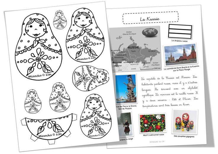 Texte, photos, albums pour présenter la Russie, mais aussi une planche originale de matriochkas gigognes à colorier et découper - création Mitsouko