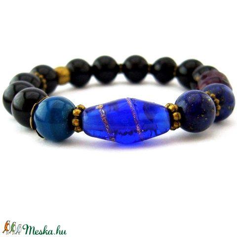 Éjfél! - fekete, lila és kék ásvány és réz karkötő achát, ónix és lazuli ásvánnyal (ButterflyJew) - Meska.hu