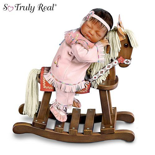 so truly real doll with wooden rocking horse great in spirit by ashton drake organizing. Black Bedroom Furniture Sets. Home Design Ideas