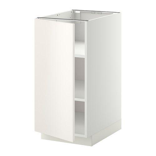 METOD Base cabinet with shelves - white, Veddinge white, 40x60x80 cm - IKEA