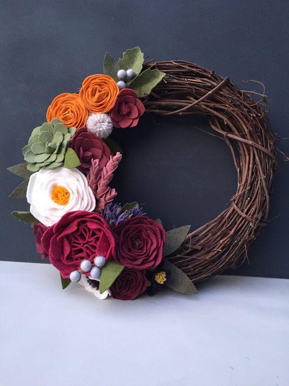 "made to order felt succulent & flower 14"" grapevine wreath // handmade // unique decor // ombre // front door"