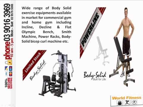Find Body Solid gym equipments for home gym and commercial gym at very affordable rates in Australia. The exercise equipments are sturdy to give long lasting performance made from world-class materials. http://www.worldfitness.com.au/index.php?cPath=253 to more information about fitness equipment.
