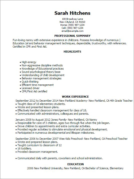 nanny resume templates personal services resumes myperfectresume regardless the type job which you apply your provides