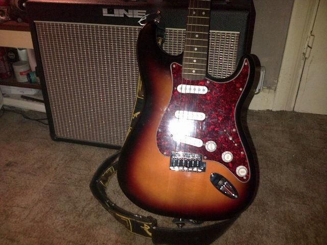 my fender squier strat and line6 flextone plus