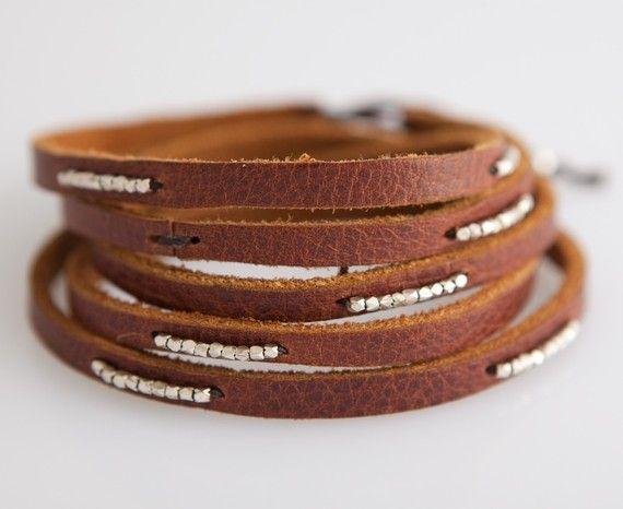 leather wrap bracelet! so cute. I want some. I like them thin.