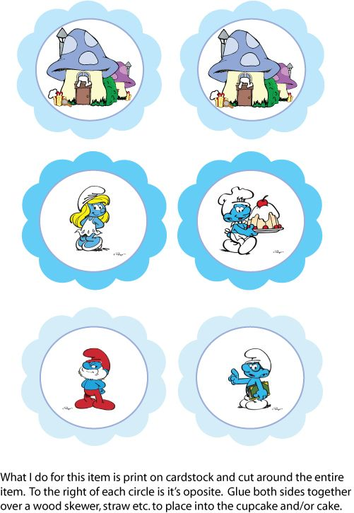 Free Printable Smurf Cupcake Toppers