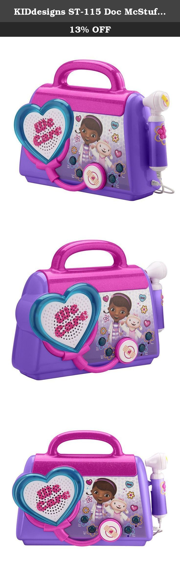 KIDdesigns ST-115 Doc McStuffins Rockin' Doc Sing-Along Boombox. Product Description Join Doc McStuffins and her friends to sing along with the built-in songs, or connect your MP3 Player to rock to your own tunes. You can even play fun speech and sound effects from the show. Give your toys a quick check-up with the included accessories. Boo boos be gone and music rock on!!!.