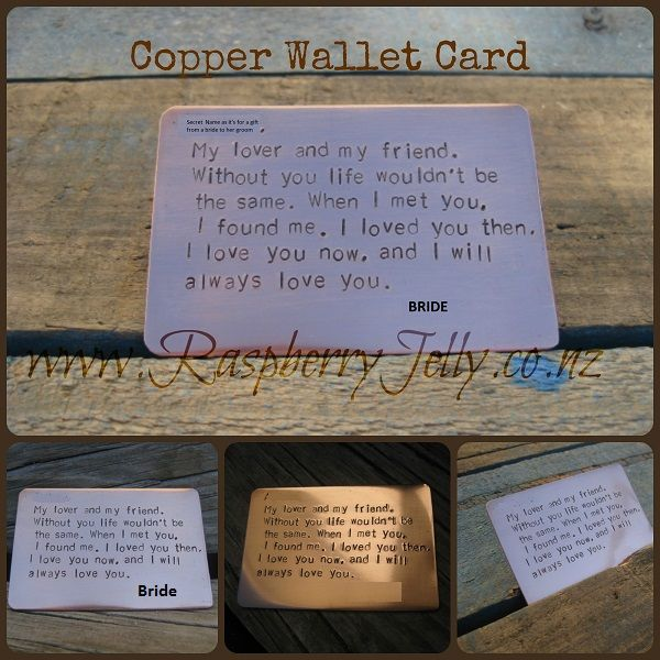 The perfect gift to remind someone that they are in your thoughts. This wallet card can be tucked safely away.