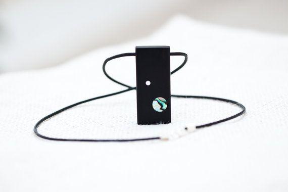 Moon and earth ebony wood pendant by BelisamaCrafts. #pendant #ebony #jewelry #minimal #planets