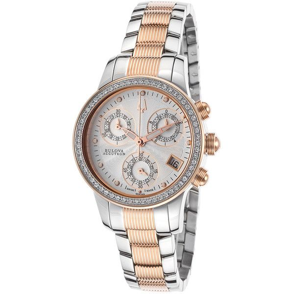 Bulova Masella Chronograph Silver Dial Ladies Watch ($349) ❤ liked on Polyvore featuring jewelry, watches, water resistant watches, stainless steel chronograph watch, rose gold tone watches, bulova watches and dress watch