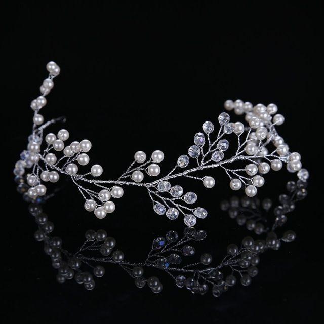 Nova Jóias Étnicas Mulheres Branches Forma Grânulos De Cristal Tiara de Cabelo De Noiva Enfeites de Cabelo Pérola Vara Do Cabelo bijoux CY161117-100
