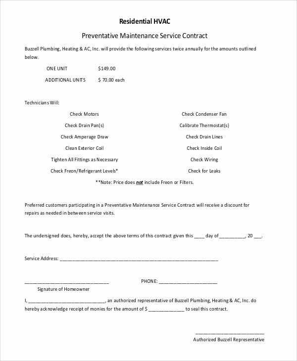 Hvac Maintenance Contract Template New 6 Sample Residential Service Contracts Contract Template Marketing Calendar Template Hvac Maintenance