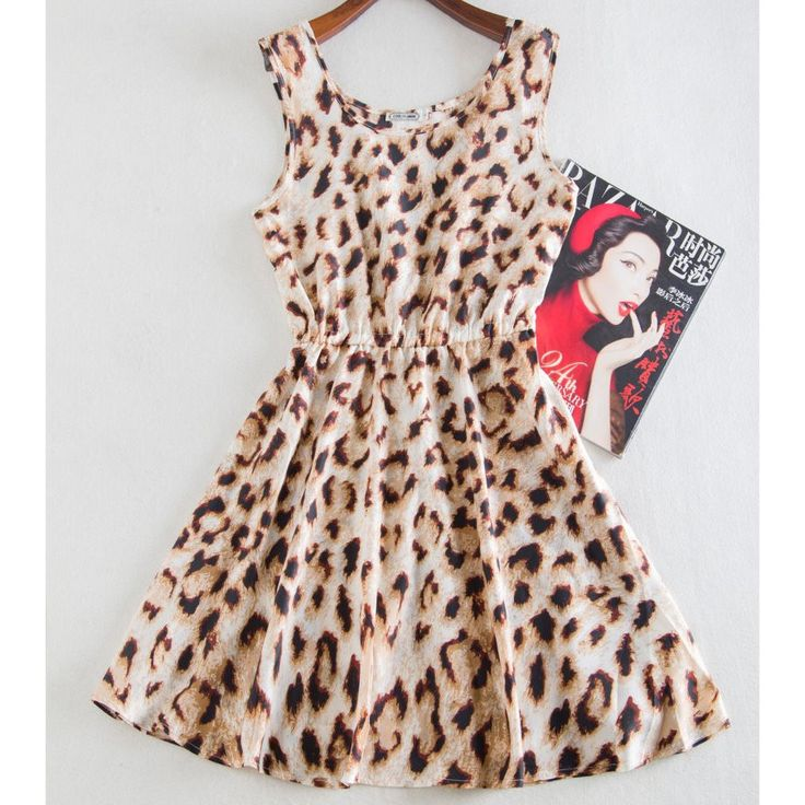 Vintage summer printed leopard party dress