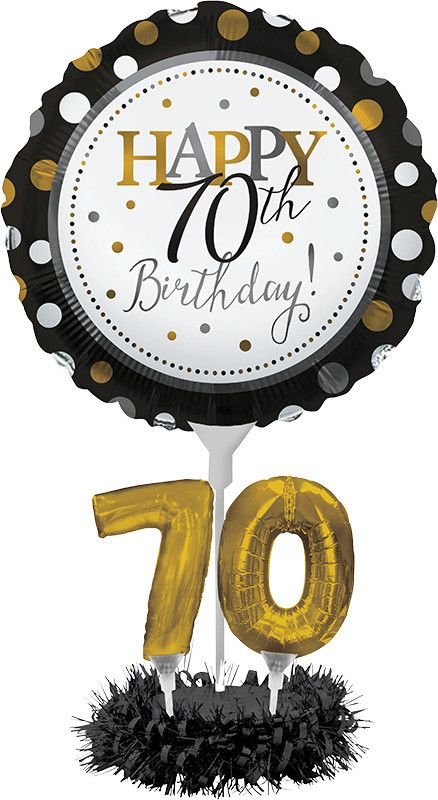 Features:  -Air filled balloons, no helium required.  -Perfect addition to your 70th birthday party décor.  -Includes 1 round balloon, 2 small balloons, 1 stick, 1 base, 1 fringe.  Style: -Contemporar