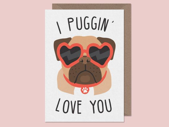 I puggin' love you. Pug valentines Card. Pug by StudioBoketto