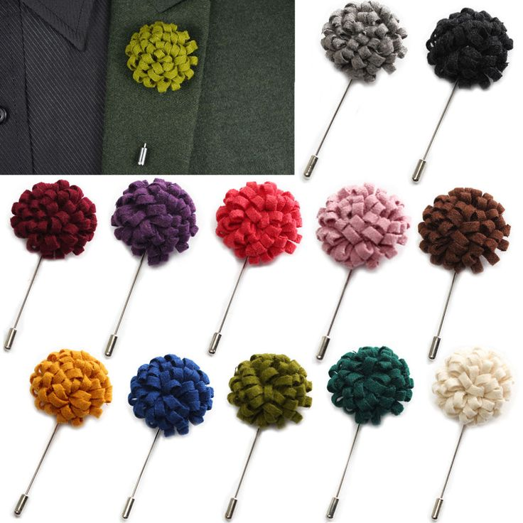 Men Wool Felt Lapel Flower Stick Pin Brooch Boutonniere Wedding Party Tuxedo  #New