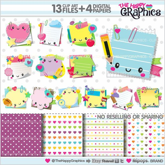 Sticky Note Clipart, Sticky Note Graphics, COMMERCIAL USE, Kawaii Clipart, Planning Clipart, Planner Accessories, Post it, Paper Notes, Cute