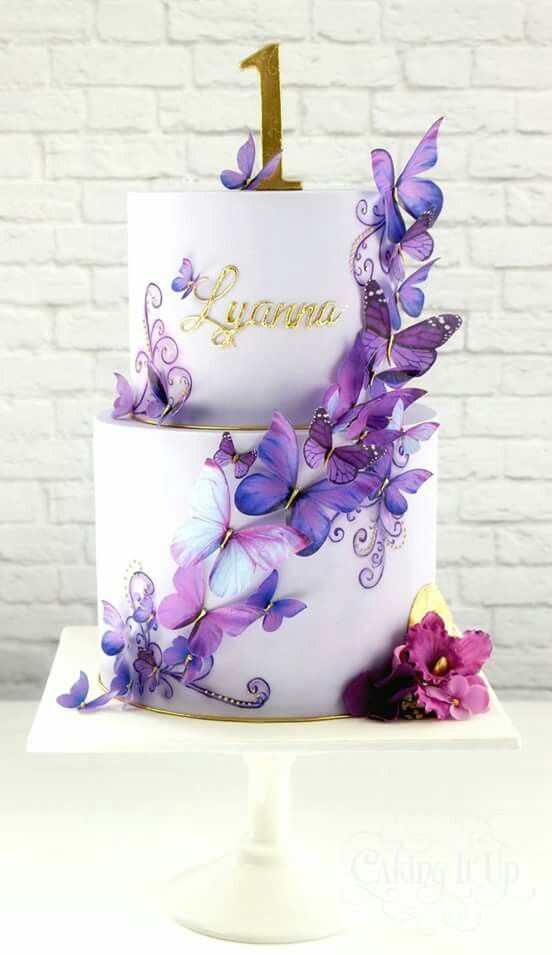 Wafer paper butterflies and painted flourish