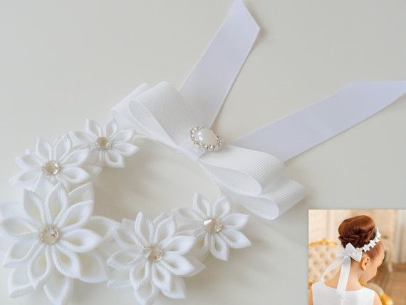 White Kanzashi Hair Bun Wrap. Flower Crown Bun Wrap. by JuLVa