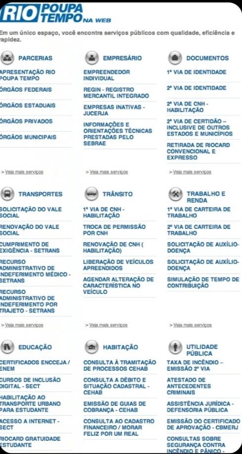 Rio Poupa Tempo na Web ➤ http://www.rj.gov.br/web/poupatemporj - Governo do Rio de Janeiro - 2012 11 15