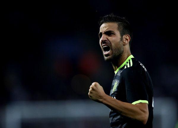 Cesc Fabregas of Chelsea celebreates after Cesar Azpilicueta of Chelsea scores…