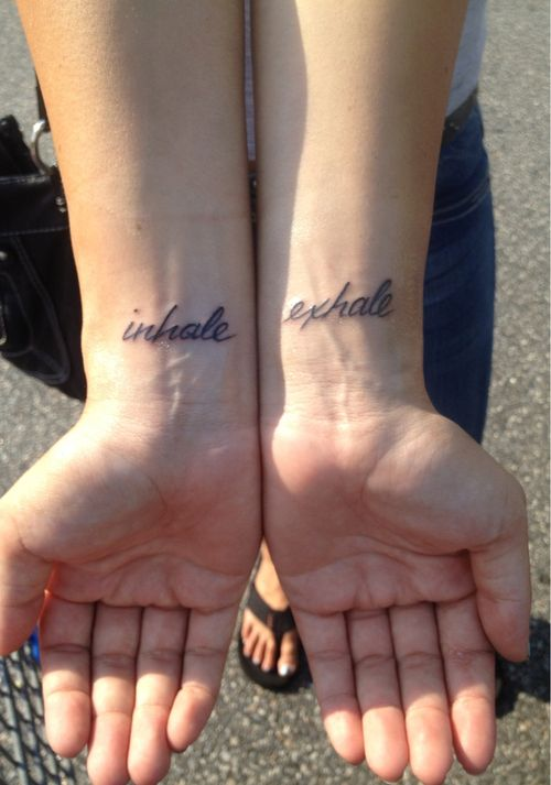 inhale and exhale, everything happens for a reasonTattoo Ideas, Photography Tattoo, Art Tattoo, Breath Tattoo, Body Art, Matching Tattoo, Tattoo Art, Inhale Exhale Tattoo, Ink