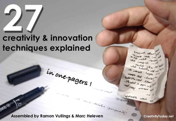 27-creativity-and-innovation-tools-in-onepagers by Marc Heleven via Slideshare