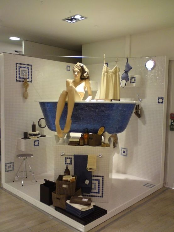 cute window or display idea for bathroom accessories