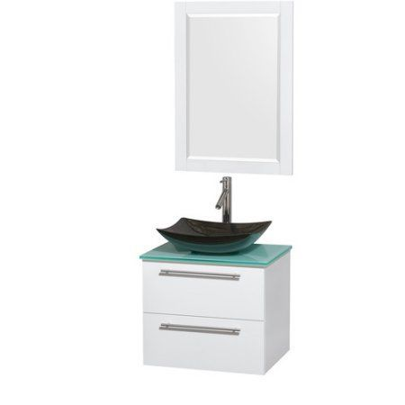 wyndham collection amare 24 inch single bathroom vanity in glossy white green glass countertop
