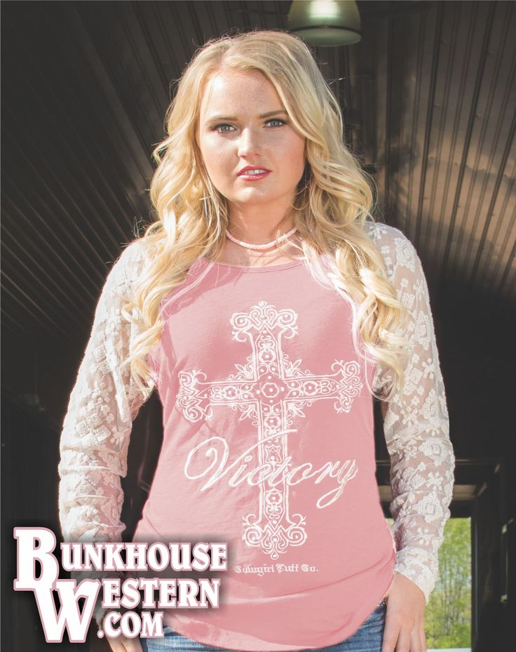 Cowgirl Tuff Company, Pink Baseball Style Tee, Lace Sleeves, Victory Cross Design, $49.99