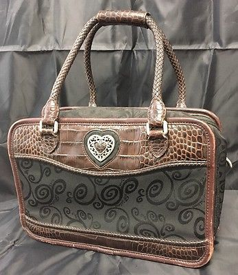 Brighton Brown Croco Embossed Silver Heart Leather Handbag With Matching Wallet  | eBay