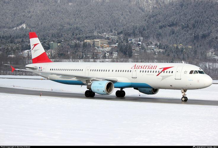 Austrian Airlines Airbus A321-111 OE-LBC aircraft, named ''Sudtirol'', skating at Austria Innsbruck Kranebitten International Airport. 09/02/2013.